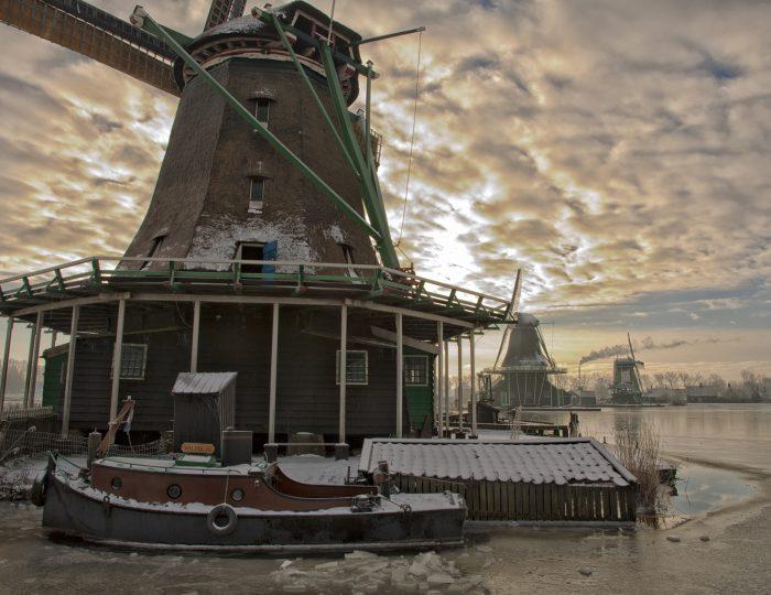 Dutch windmills winter